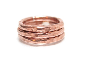 Copper Stacking Ring - ONE copper Ring - Copper Rings - Hammered Copper Ring - Copper Ring Band - Copper Layering Rings - Simple Copper Ring