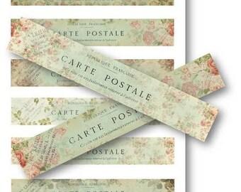 Digital Images - Digital Collage Sheet Download - Carte Postale Strips -  550  - Digital Paper - Instant Download Printables