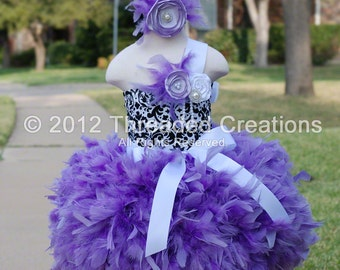 Feather Dress -  Feather Tutu Dress - Damask Tutu Dress - Damask Dress