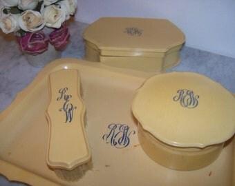 1920's Art Nouveau Celluloid Dresser Vanity SET Creamy Ivory 6 Pieces