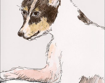 Rat terrier wall art  kids wall decor nursery children room decor archival print signed giclee dog art print, 8.5x11 tan brown pink black