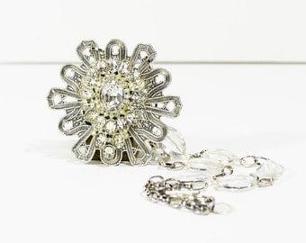 Vintage Necklace Pendant 1920s 1930s Handmade Assemblage Art Deco Rhinestone Crystal