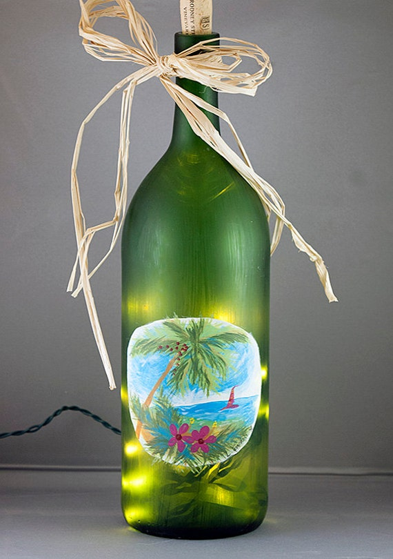Lighted Wine Bottle Light - Hand Painted Tropical Palm Tree & Ocean Recycled Wine Bottle Night Light Luau Party Aloha