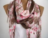 Lightweight Long Scarf Floral Brown Pink Woman Shawl Fall Autumn Fashion