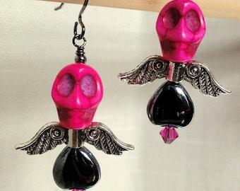 Dia de los Muertos Earrings - Winged, Hot Pink Skull w/ Hematite Heart