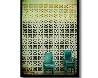 Mid Century Urban Photography Hipster Print, Mint Green Retro Chairs Yellow Kitsch Architecture, TTV Style Grunge Vintage Island Funky Art