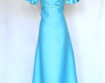 60's Vintage Prom Dress, Aqua BlueDress, Vintage Bridesmaid Dress