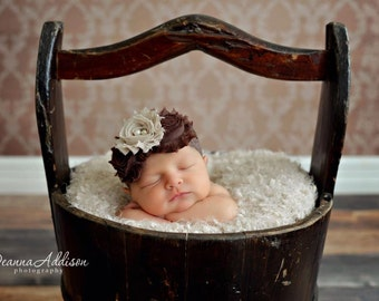 Vintage Brown and Beige Chiffon Flower headbands, baby flower headbands, chiffon headbands, newborn headbands, photography prop