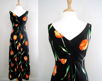 Vintage 1970s Boho Chic Dress Peekaboo Back with Tulip Print - Floral Maxi Dress - Size Small