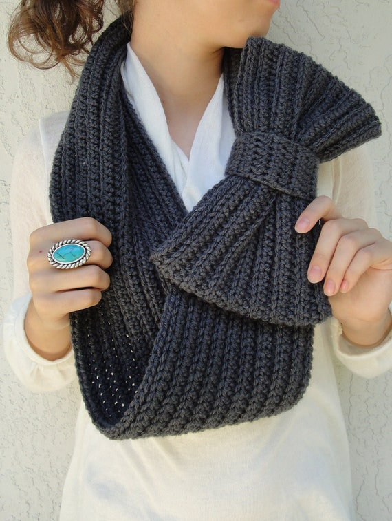 Charcoal/ Dark Gray Bow Infinity Scarf, Chunky Neck Warmer / Cowl, crocheted, handmade