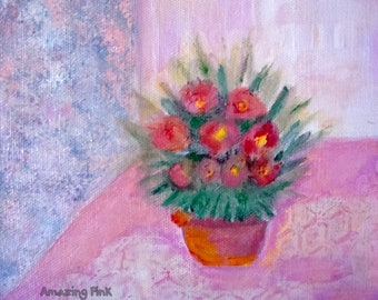 """Pink Flower, Original Painting, Acrilic Painting on 7,9"""" x 7,9"""" (20x20 cm) Artistic Canvas,Home decor/ Gift ideas,Free shipping"""