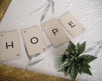 Vintage alphabet cards spelling HOPE