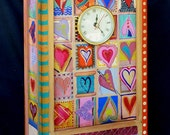 HEART BEAT CLOCK, Hand Painted One Of A Kind Heart Inspired Clock Beating Just For You!