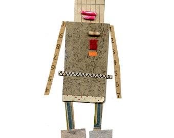 robot 4, cut paper robot, mixed media robot, print
