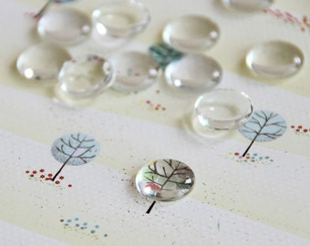 2 pcs Clear Round Glass Cabochons 12 mm