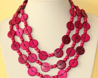 Ethnic Coconut Shell Necklace. Handmade. Extra Long Length Lariat. Colorful Coco Wood Beads. Pink Color Necklace.  MapenziGems CN05