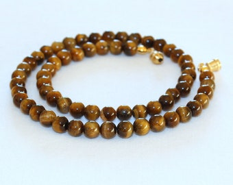 """Tiger Eye Necklace. 6mm 16""""  Brown Tiger Eye / Tiger's Eye Stone. Therapeutic. MapenziGems"""