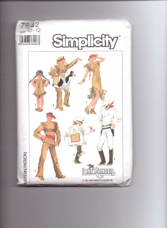 Simplicity Sewing Pattern 80s 7642 or 5298 UNCUT Childs Lone Ranger, Tonto, Silver, and Scout Costume Size 10-12