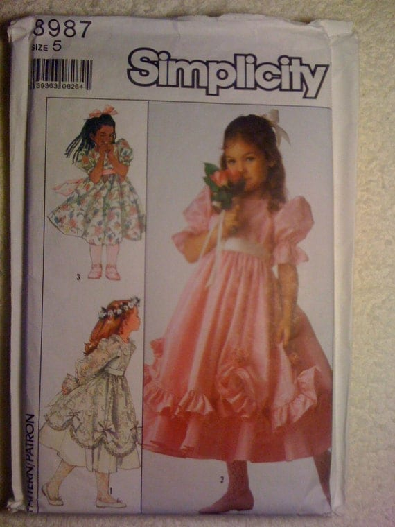 Girls Dress Simplicity Sewing Pattern 8987 Size 5 Sale 80s