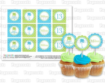 Printable DIY Blue and Green Palm Tree Beach Party Theme Personalized Happy Birthday Cupcake Toppers