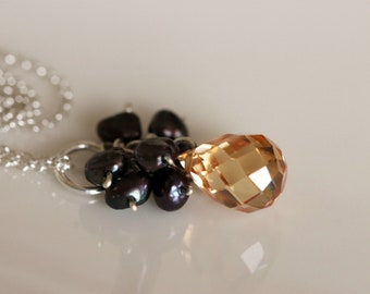 peach cubic zirconia & black pearl cluster drop necklace / sterling silver chain / handmade by girlthree