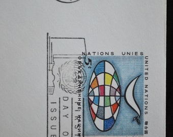 vintage United Nations envelopes (stamped on first day of issue of U.N. stamps)