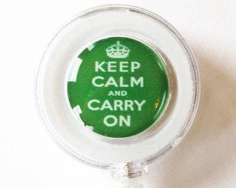 ID Badge Holder, Keep Calm Carry On, keep calm id badge, Retractable id, Badge clip, Apple Green