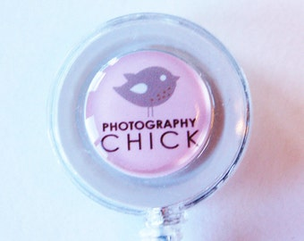 ID Badge Holder, Photographer, Retractable id, Badge clip, photography, pink, photography chick, photographer gift (1832)
