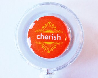 ID Badge Holder, Badge Reel, Cherish, Retractable id, Badge clip, orange, Orange Badge Reel, office wear (1834)