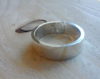 Fingerprint Ring, Inside Fingerprint  (Sterling Silver, Bronze, Stainless Steel) (Wide-7mm) (Sizes 4-13)