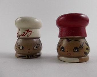 Adding Flavor - Vintage Handpainted Wooden Salt & Pepper Shakers - Red White Chef Hat Faces Japan - Salty Peppy - Retro 1950's Kitchen