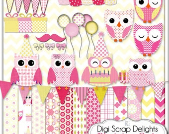 Owl Birthday Clip Art for Digital Scrapbooking, Card Making, Party Decor, Crafts  in Pink and Yellow, Instant Download