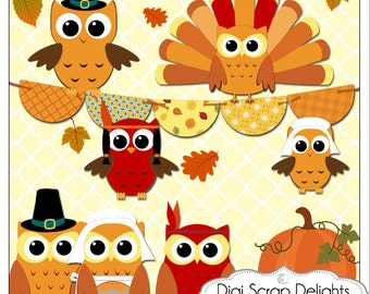 Thanksgiving Owls Pilgrims, Indians, Turkey Clip Art for Digital Scrapbooking, Fall Cards, Crafts, Instant Download