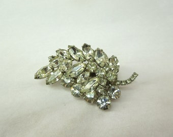 Large Vintage Rhinestone Brooch Leaf Shaped  No. 1649