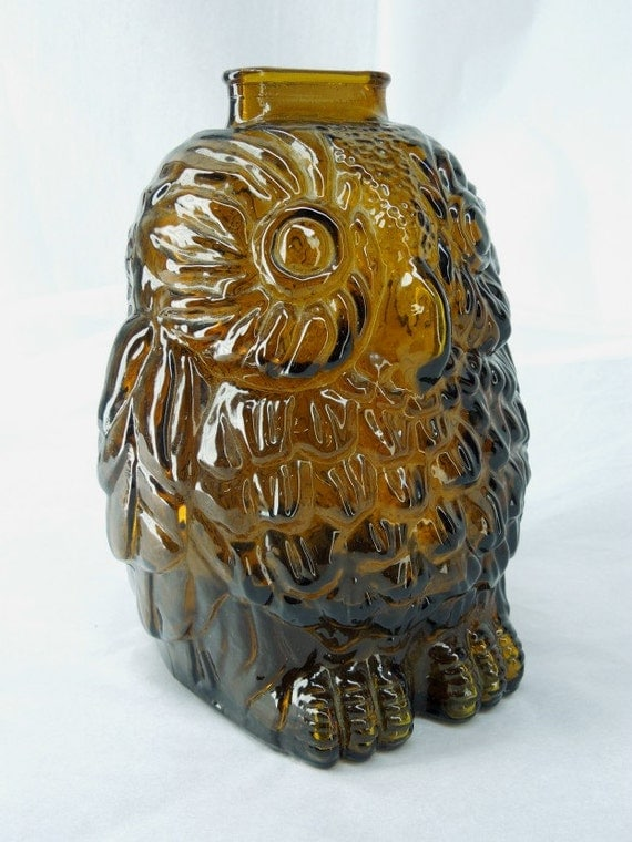 Wise old owl libbey glass bank amber glass canada - Wise old owl glass bank ...