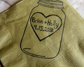 Rustic Personalized Golden Brown Mason Jar Burlap Wedding Cocktail Napkins with Large Heart Couples Names and Wedding Date- set of 50