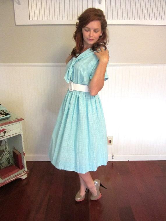 50s dress / 1950s dress / 50s day dress / full skirt dress / 1950s cotton dress
