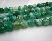 green banded agate facted round bead 6mm 15 inch strand