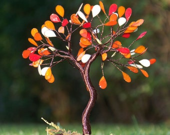 READY To SHIP - Wire Fantasy Tree Of Life Sculpture on Nature Stone Red Beads Original Art