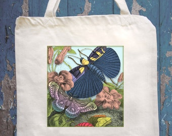 Canvas bag tote with Moths, Graphique Arbor, Herb St. John's Wort, Butterfly