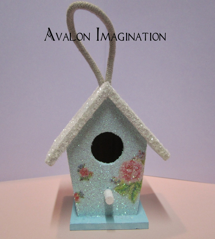 Https Www Etsy Com Listing 115972886 Glitter Birdhouse Shabby Chic Home Decor
