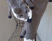 Knit Fox Scarf, milk chocolate knit stole, wool blend knit wrap, forest animal shawl, crossbody stole, brown wool shrug, imitation fur stole