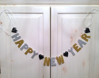 Happy New Year Banner -- New Years Eve Decorations / NYE Photo Prop / Happy 2016