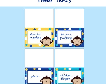 Monkey Birthday Party - FOOD LABELS - Printable Mod Monkey Decorations - Printable Food Tents - DIY Birthday Party