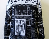 Vintage Newspaper Sparkly Sweater