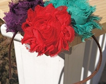 Interchangeable Boho-Chic Triple Rosette Headband, Bohemian