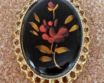 Vintage Black Oval Brooch with Flowers