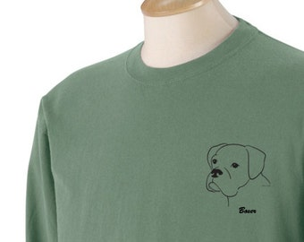 Boxer (Uncropped Ears)  Garment Dyed Cotton Long Sleeve T-shirt