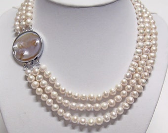 Pearl Necklace - 17-19inches 3 Row White Pearl Necklace With Unique Mother of Pearl Clasp- Free shipping