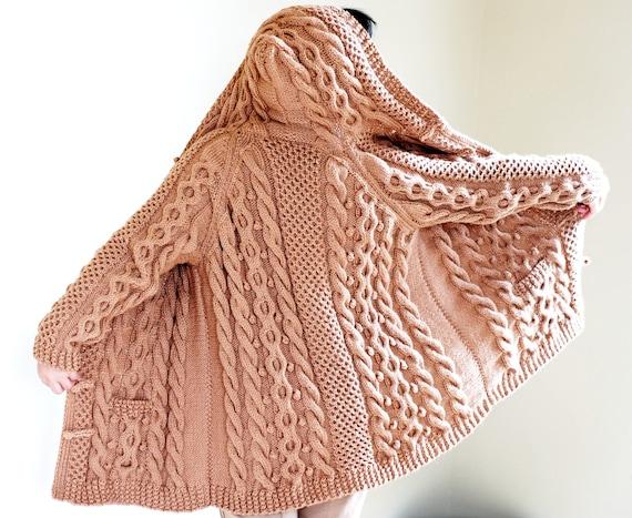 Items Similar To Hand Knit Women Chunky Cable Aran Irish Fisherman